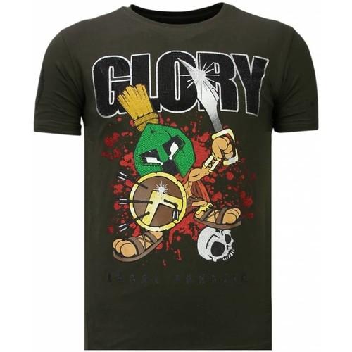 Textiel Heren T-shirts korte mouwen Local Fanatic Glory Martial Rhinestone Groen