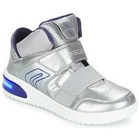 Schoenen Meisjes Hoge sneakers Geox J XLED GIRL Zilver