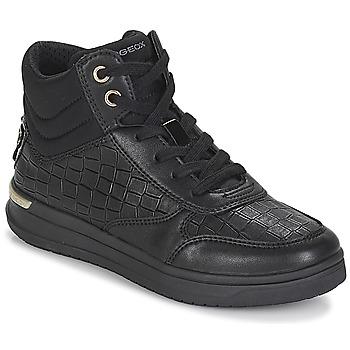 Schoenen Meisjes Hoge sneakers Geox J AVEUP GIRL Zwart / Goud