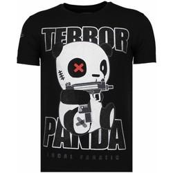 Textiel Heren T-shirts korte mouwen Local Fanatic Terror Panda Rhinestone Zwart
