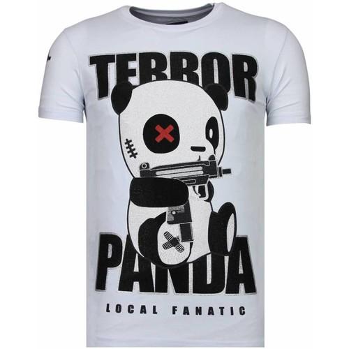 Textiel Heren T-shirts korte mouwen Local Fanatic Terror Panda Rhinestone Wit