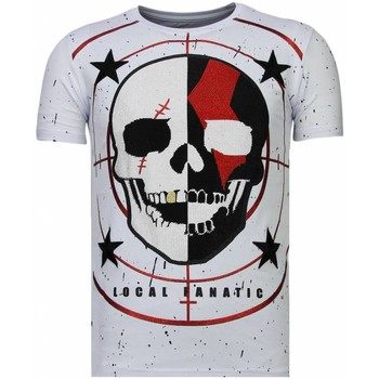 Textiel Heren T-shirts korte mouwen Local Fanatic God Of War Rhinestone Wit