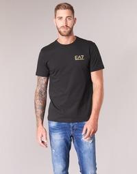 Textiel Heren T-shirts korte mouwen Emporio Armani EA7 JAZKY Zwart / Goud