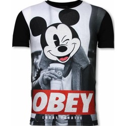 Textiel Heren T-shirts korte mouwen Local Fanatic Obey Mouse  - Digital Rhinestone T-shirt 38