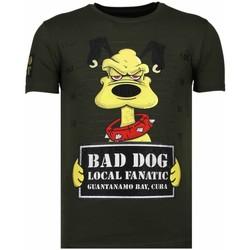 Textiel Heren T-shirts korte mouwen Local Fanatic Bad Dog - Rhinestone T-shirt Groen