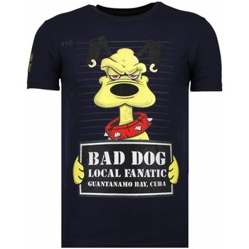 Textiel Heren T-shirts korte mouwen Local Fanatic Bad Dog - Rhinestone T-shirt Blauw