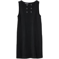 Textiel Dames Korte jurken Petit Bateau Robe Femme 3 Boutons en Molleton Fleece Noir Zwart