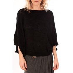 Textiel Dames Truien De Fil En Aiguille Pull Poncho Sophyline T-1614 Noir Zwart
