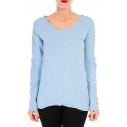 Textiel Dames T-shirts met lange mouwen By La Vitrine T-shirt Empiècement Pailleté 2119 Bleu Blauw
