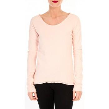 Textiel Dames T-shirts met lange mouwen By La Vitrine T-shirt Empiècement Pailleté 2119 Rose Poudre Roze