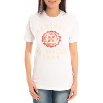 Textiel Dames T-shirts korte mouwen Sweet Company T-shirt Marshall Original M and Co 2346 Blanc Wit
