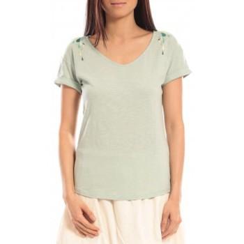 Textiel Dames T-shirts korte mouwen Blune T-shirt Larmes de Joie LJ-TF01E13 Vert Groen
