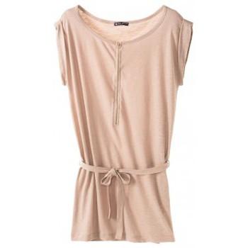 Textiel Dames Korte jurken Petit Bateau Petit Bauteau Robe femme en jersey flammé 32992 09 Beige Roze
