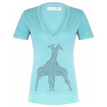 Textiel Dames T-shirts korte mouwen So Charlotte V neck short sleeves Giraffe T00-91-80 Vert Groen
