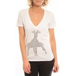 Textiel Dames T-shirts korte mouwen So Charlotte V neck short sleeves Giraffe T00-91-80 Blanc Wit