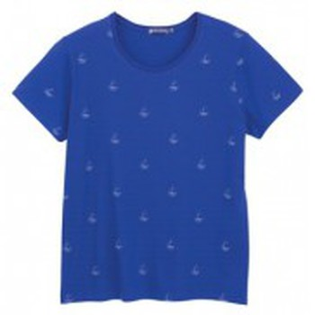 Textiel Dames T-shirts korte mouwen Petit Bateau Tee shirt MC 3433448220 Bleu Blauw