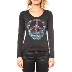 Textiel Dames T-shirts met lange mouwen Sweet Company Tee shirt Peace Noir Zwart