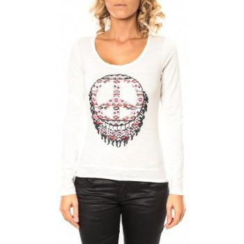 Textiel Dames T-shirts met lange mouwen Sweet Company Tee shirt Peace Blanc Wit