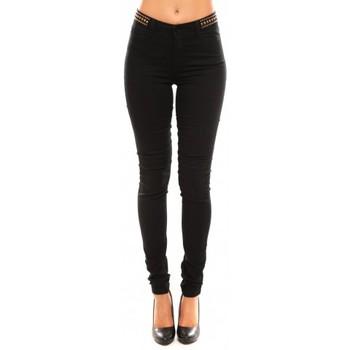 Textiel Dames Broeken / Pantalons Vero Moda Wonder NW Skinny Bead 10099955/32 Zwart