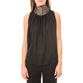 Textiel Dames Mouwloze tops Tcqb Top Paillettes Dorées 114-70 Noir Zwart