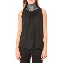 Textiel Dames Mouwloze tops Tcqb Top Paillettes Argentées 114-70 Noir Zwart