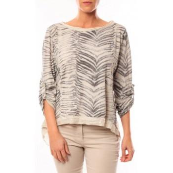 Textiel Dames T-shirts met lange mouwen By La Vitrine Tee shirt Zèbre Asso Gold Beige - Beige