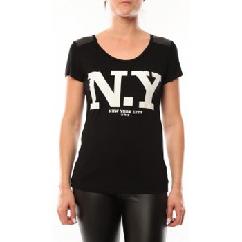 Textiel Dames T-shirts korte mouwen Dress Code T-Shirt Love Look NY 1660 Noir Zwart