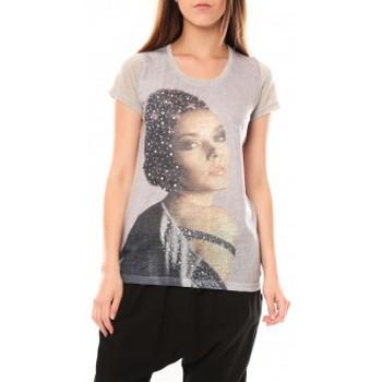 Textiel Dames T-shirts korte mouwen Tcqb Tee shirt Y-0008 Gris Grijs