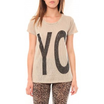 Textiel Dames T-shirts korte mouwen Tcqb Tee shirt SL1511 Beige Beige