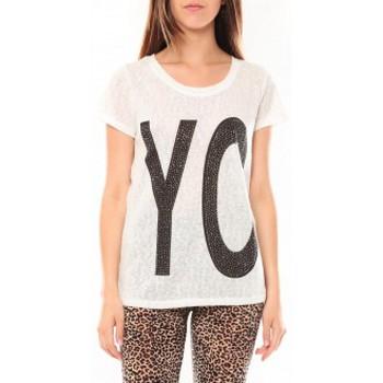 Textiel Dames T-shirts korte mouwen Tcqb Tee shirt SL1511 Blanc Wit