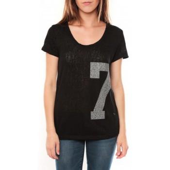 Textiel Dames T-shirts korte mouwen Tcqb Tee shirt SL1601 Noir Zwart