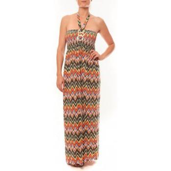 Textiel Dames Lange jurken By La Vitrine Robe Sylvia F594 Orange Oranje