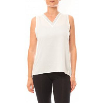 Textiel Dames Mouwloze tops De Fil En Aiguille Débardeur Voyelle L147 Blanc Wit