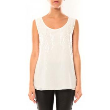 Textiel Dames Mouwloze tops De Fil En Aiguille Débardeur Victoria & Karl MX0660 Blanc Wit