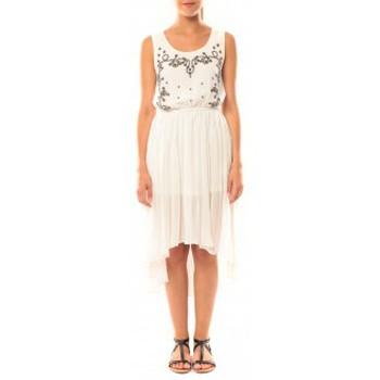 Textiel Dames Jurken De Fil En Aiguille Robe Victoria & Karl GH0012 Blanc Wit