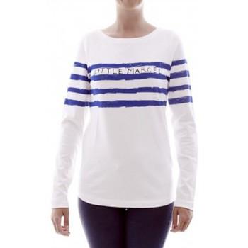 Textiel Dames T-shirts met lange mouwen Little Marcel T-shirt Tiprint H14IBF213 Blanc Wit