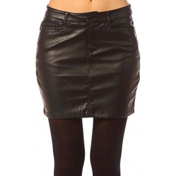 Textiel Dames Rokken Vero Moda Wonder NW Short PU Skirt 10117232 Noir Zwart