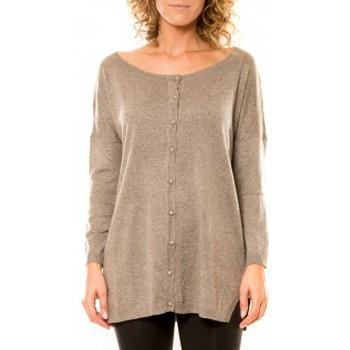 Textiel Dames Vesten / Cardigans Vision De Reve Vision de Rêve Gilet 12026 Taupe Bruin