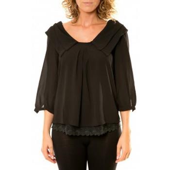 Textiel Dames Overhemden Vision De Reve Vision de Rêve Chemisier Col Claudine IP11012 Noir Zwart