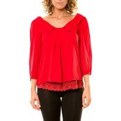 Textiel Dames Overhemden Vision De Reve Vision de Rêve Chemisier Col Claudine IP11012 Rouge Rood