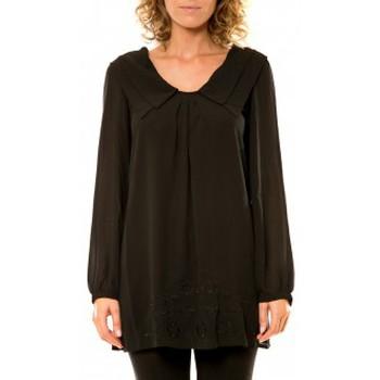Textiel Dames Overhemden Vision De Reve Vision de Rêve Chemisier Col Claudine IP11013 Noir Zwart