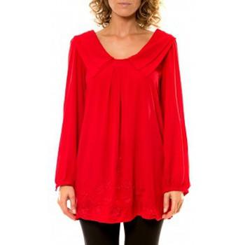 Textiel Dames Overhemden Vision De Reve Vision de Rêve Chemisier Col Claudine IP11013 Rouge Rood