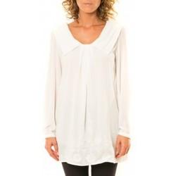 Textiel Dames Overhemden Vision De Reve Vision de Rêve Chemisier Col Claudine IP11013 Blanc Wit