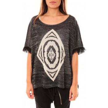 Textiel Dames Truien Tcqb Poncho Di&A 0196 Noir Zwart