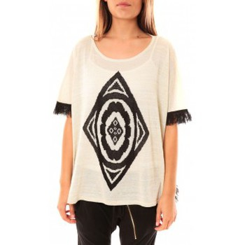 Textiel Dames Truien Tcqb Poncho Di&A 0196 Blanc Wit