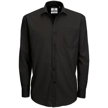 Textiel Heren Overhemden lange mouwen B And C SMP61 Zwart