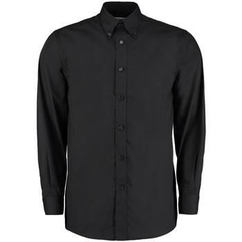 Textiel Heren Overhemden lange mouwen Kustom Kit KK140 Zwart