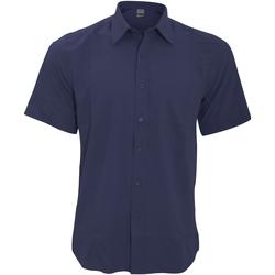 Textiel Heren Overhemden korte mouwen Henbury HB595 Marine