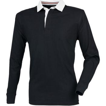 Textiel Heren Polo's lange mouwen Front Row FR104 Zwart