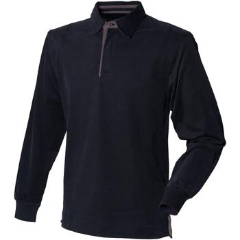 Textiel Heren Polo's lange mouwen Front Row FR43M Zwart